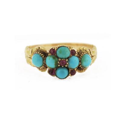 Victorian Turquoise and Ruby Flower Motif Ring