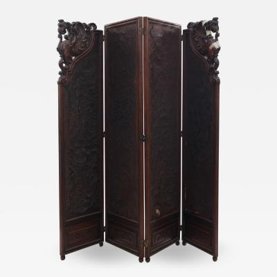 Victorian Walnut 4 Fold Screen