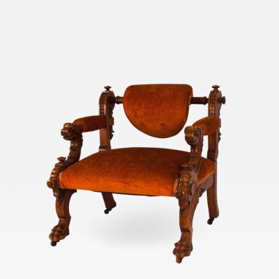 Victorian Walnut Low Chair with Swiveling Back USA 1880