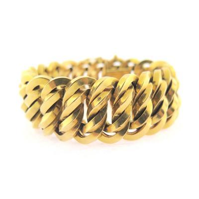 Victorian Wide Woven Link Gold Bracelet