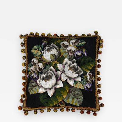 Victorian Wool Beaded Pillow Circa 1860
