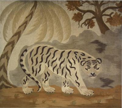 Victorian Wool Work Embroidered Picture of a Tiger