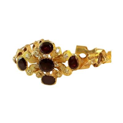 Victorian c 1880 Bracelet 18K Yellow Gold with 12 Garnets and 21 Sapphires