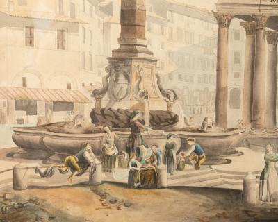 View Of The Pantheon In Rome Watercolor 19th