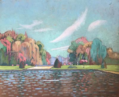 View of the Fontainebleau Castle Park by Jean Desparbes 1922