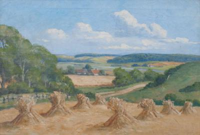 Viggo Jespersen Oil on Canvas Countryside in Jutland