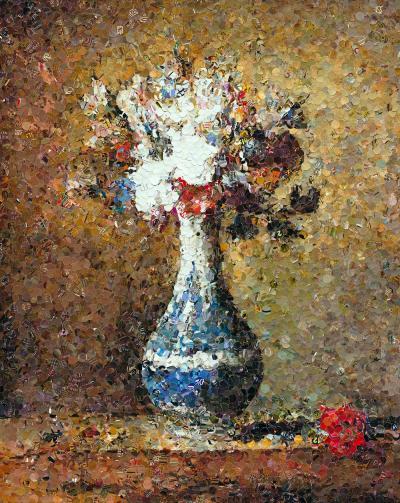 Vik Muniz Flowers in Blue and White Vase after Chardin