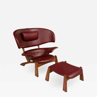Viking Lounge Chair Ottoman in Walnut Bordeaux Aniline Leather Denmark