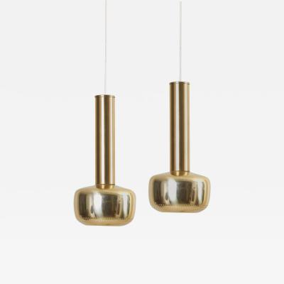 Vilhelm Lauritzen Pair of Pendant Lamps in Brass by Vilhelm Lauritzen for Louis Poulsen
