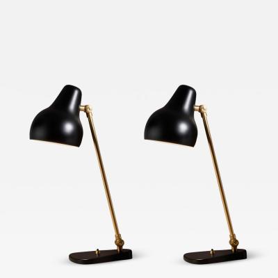 Vilhelm Lauritzen Vilhelm Lauritzen Black Radiohus Table Lamps for Louis Poulsen