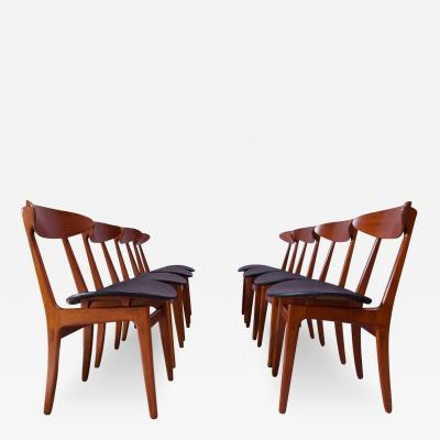 Vilhelm Wohlert Set of Eight Sculptural Danish Teak Dining Chairs by Vilhelm Wohlert for S borg