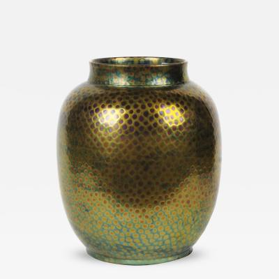 Vilmos Zsolnay Large Hungarian Vase with Textured Eosin Glaze by Zsolnay circa 1890