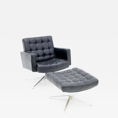 Vincent Cafiero Vincent Cafiero Leather Lounge Chair with Stool Knoll International 1960s