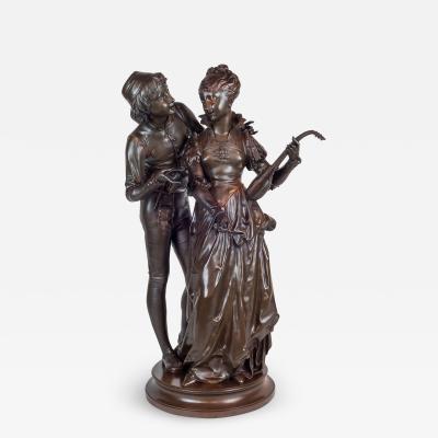 Vincent Desire Faure de Brousse A Fine Quality Patinated Bronze Figures of Two Lovers