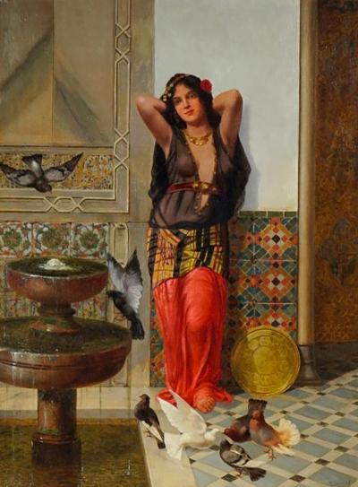 Vincent G Stiepevich A Fine Stiepevich Orientalist Painting of Harem Woman