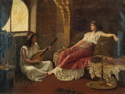 Vincent G Stiepevich A Fine Stiepevich Painting of a Lounging Odalisque in a Harem