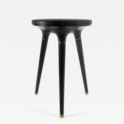 Vincent Pocsik Hand Carved Walnut and Leather Stool