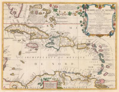 Vincenzo Maria Coronelli The rare Coronelli Nolin map of the West Indies