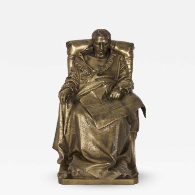 Vincenzo Vela Last Days of Napoleon Antique Bronze Sculpture by Vincenzo Vela