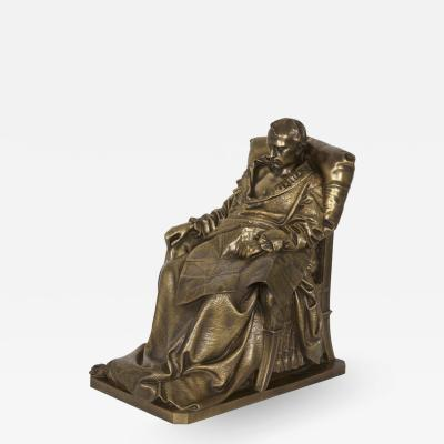 Vincenzo Vela Last Days of Napoleon Antique French Bronze Sculpture by Vela Barbedienne