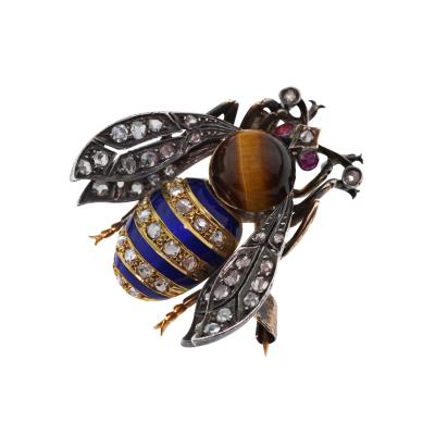 Vintage 18K Yellow Gold Sterling Silver Bee Brooch Pin