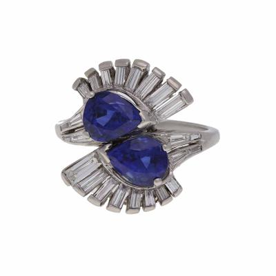 Vintage 1950s Platinum Diamond and Ceylon Sapphire Ring