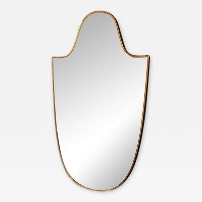 Vintage 1960s Italian Scudo Long Mirror in Brass Trim