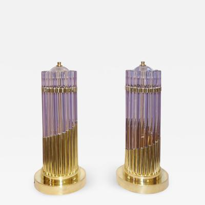 Vintage 1980s Italian Pair of Brass Alexandrite Purple Blue Murano Glass Lamps