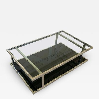Vintage 2 Tier Coffee Table in Chrome and Glass