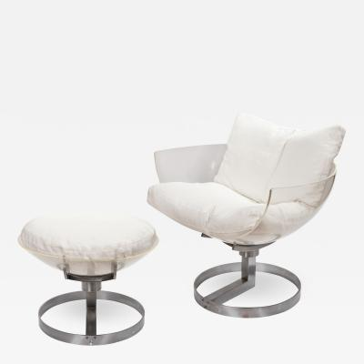 Vintage 2001 Chair With Ottoman By Bob Forrest Circa 1971