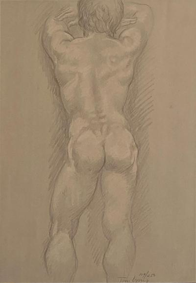 Vintage Academic Sketch of a Male Nude