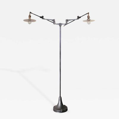 Vintage Adjustable Iron and Milk Glass Shades Factory Floor Reading Lamp Light