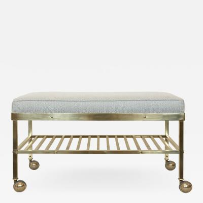 Vintage American Brass Bench on Castors