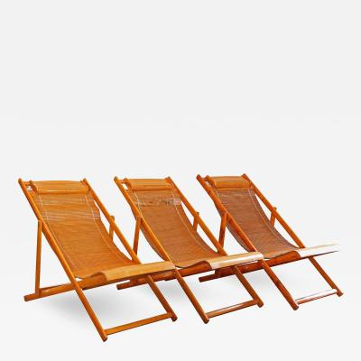 Vintage Bamboo Wood Japanese Deck Chairs Outdoor Fold Up Lounge Chairs