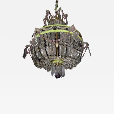 Vintage Basket Chandelier with Amethyst Crystals and Bronze Ormolu Wreaths