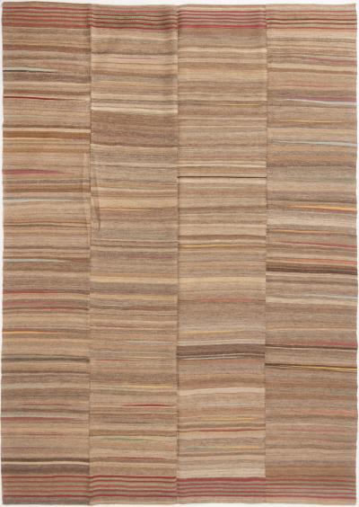 Vintage Beige Brown Multicolor Wool Kilim