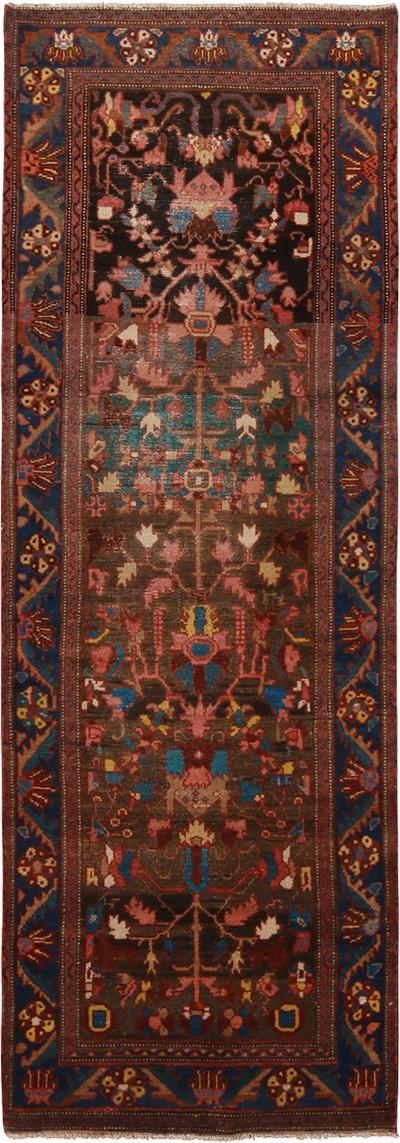 Vintage Bidjar Pink and Brown Wool Rug with Exceptional Blue Border
