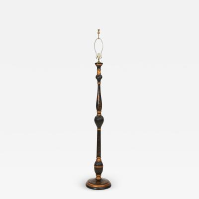 Vintage Black Gold Chinoiserie Floor Lamp