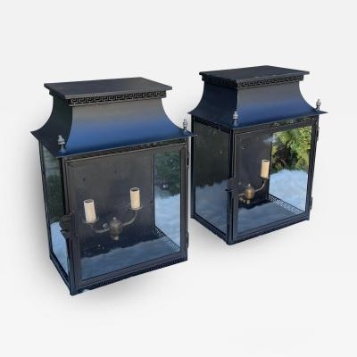 Vintage Black Tole Lantern Form Indoor Outdoor Wall Light Sconces