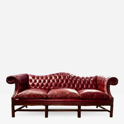 Vintage Blood Red Leather Chesterfield Sofa