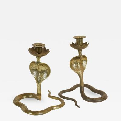 Vintage Brass Cobra Candlestick Holders