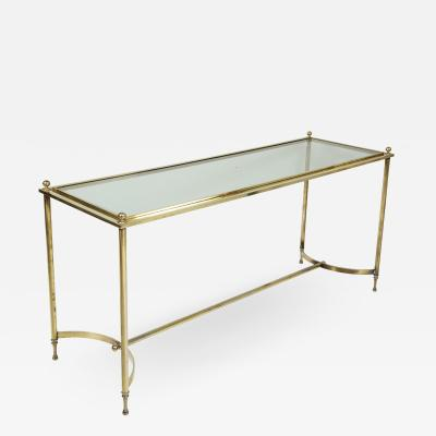Vintage Brass and Chrome Glass Top Console Table