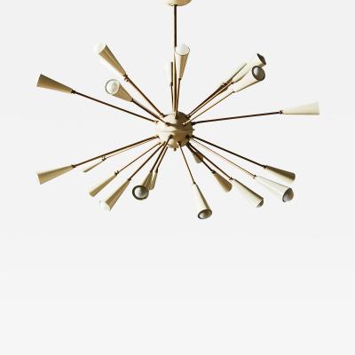 Vintage Brass and White Enameled Metal Sputnik Chandelier