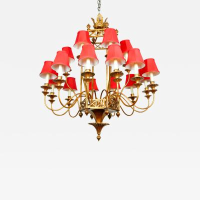 Vintage Bronze Finish Chandelier with Red Shades