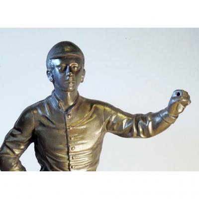 Vintage Brushed Steel Jockey Figurine