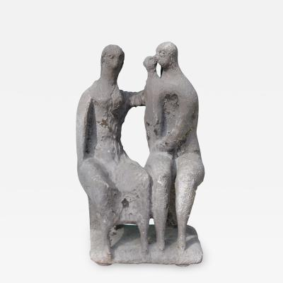 Vintage Brutalist Family Sculpture in the Style of Henry Moore