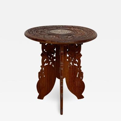Vintage Carved Anglo Indian Side Table