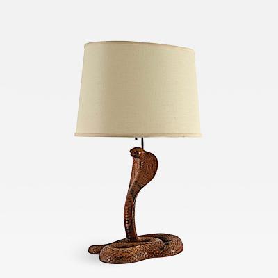 Vintage Carved Wood Cobra Table Lamp