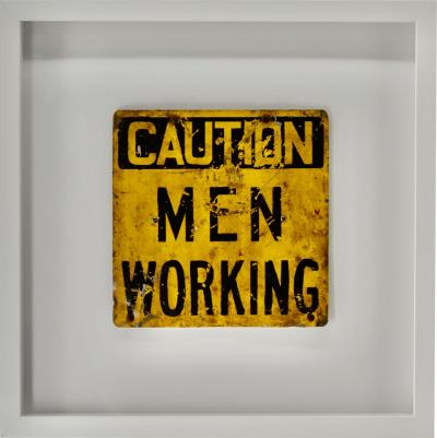 Vintage Caution Men Working