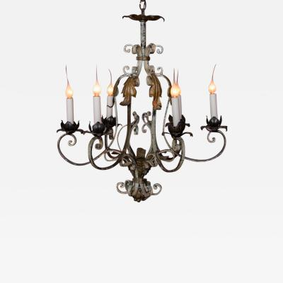 Vintage Country French Six Light Iron Chandelier with Original Paint